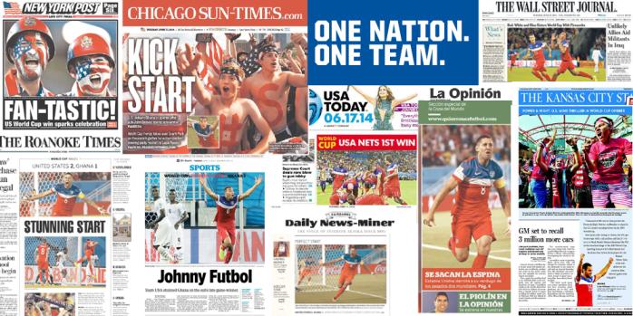 Portadas de los periódicos gringos luego de la victoria de su equipo (fuente: @ussoccer )